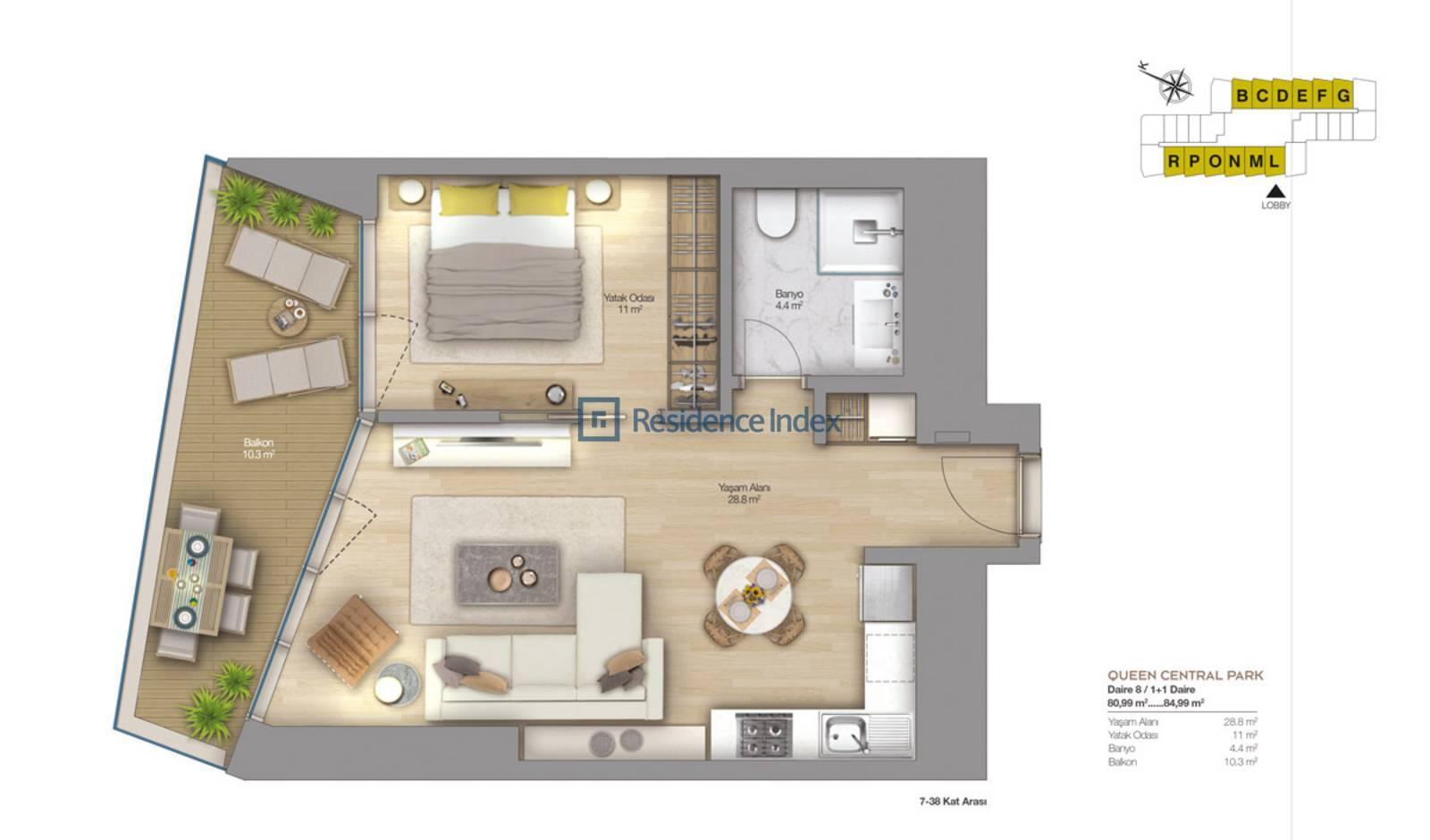 1+1 High Floor Spacious Flat
