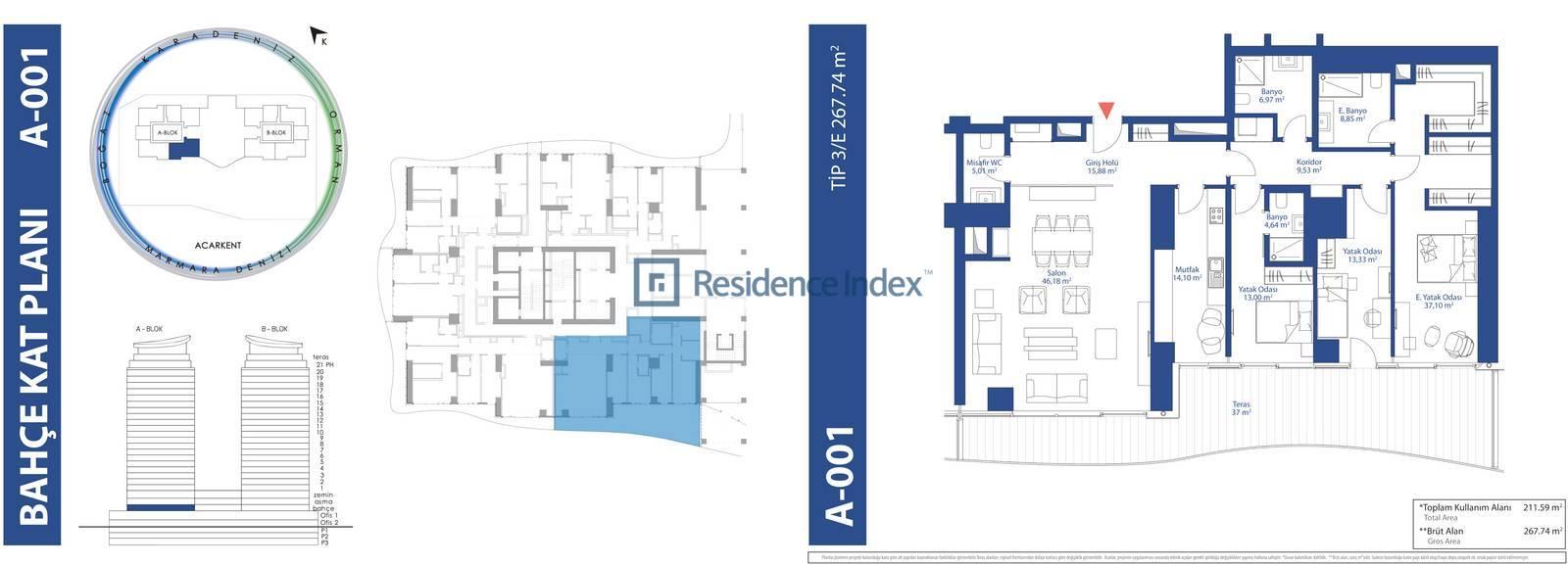 AcarBlu Residence Tip 3E