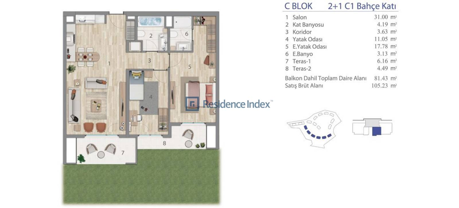 5.LEVENT C Blok Bahçe Katı C1