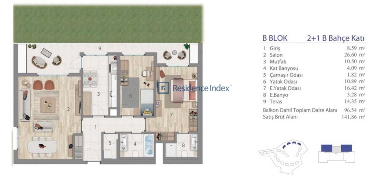 5.LEVENT B Blok Bahçe Katı B
