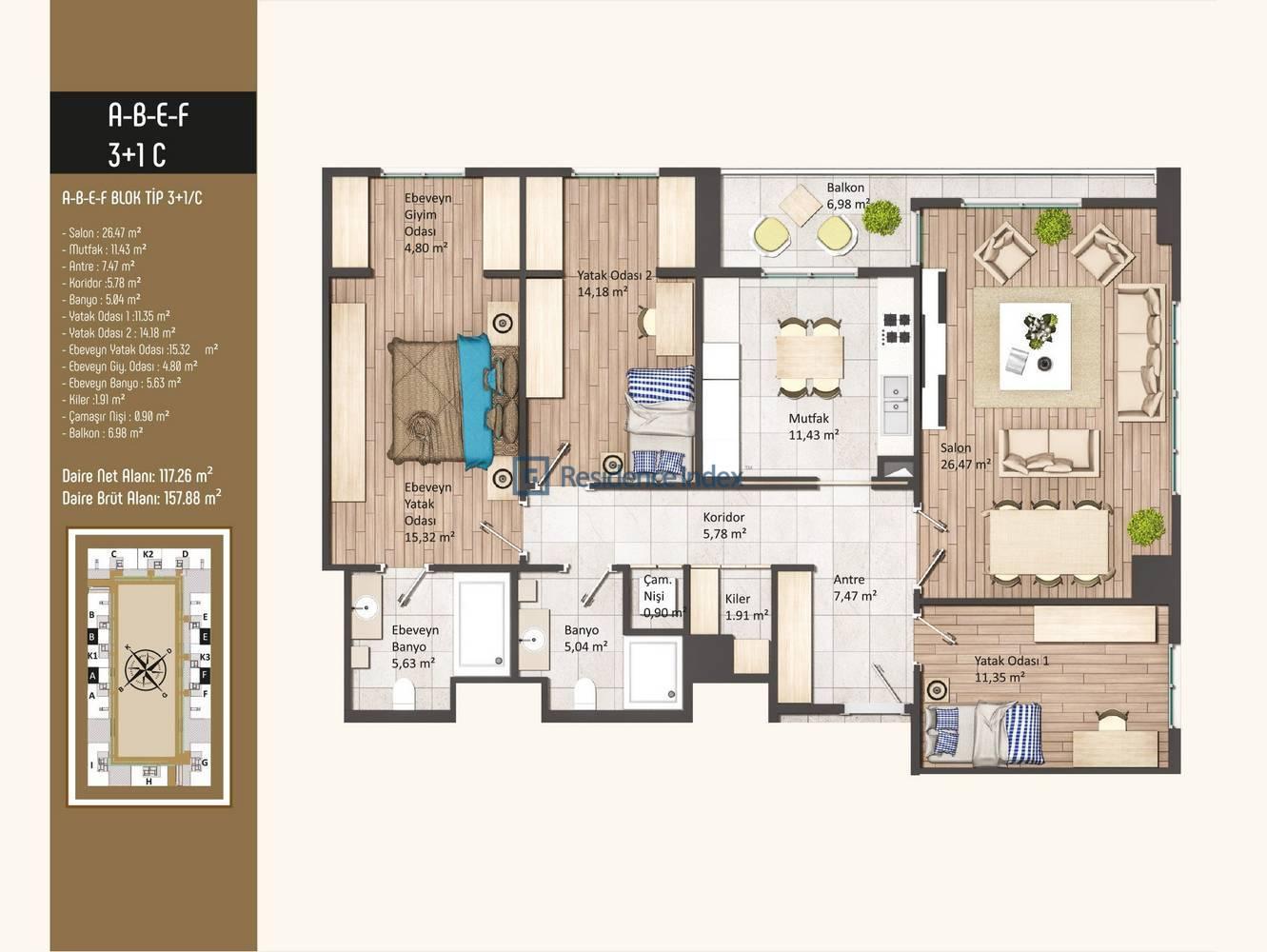Kameroğlu Metrohome Residence 3+1 C