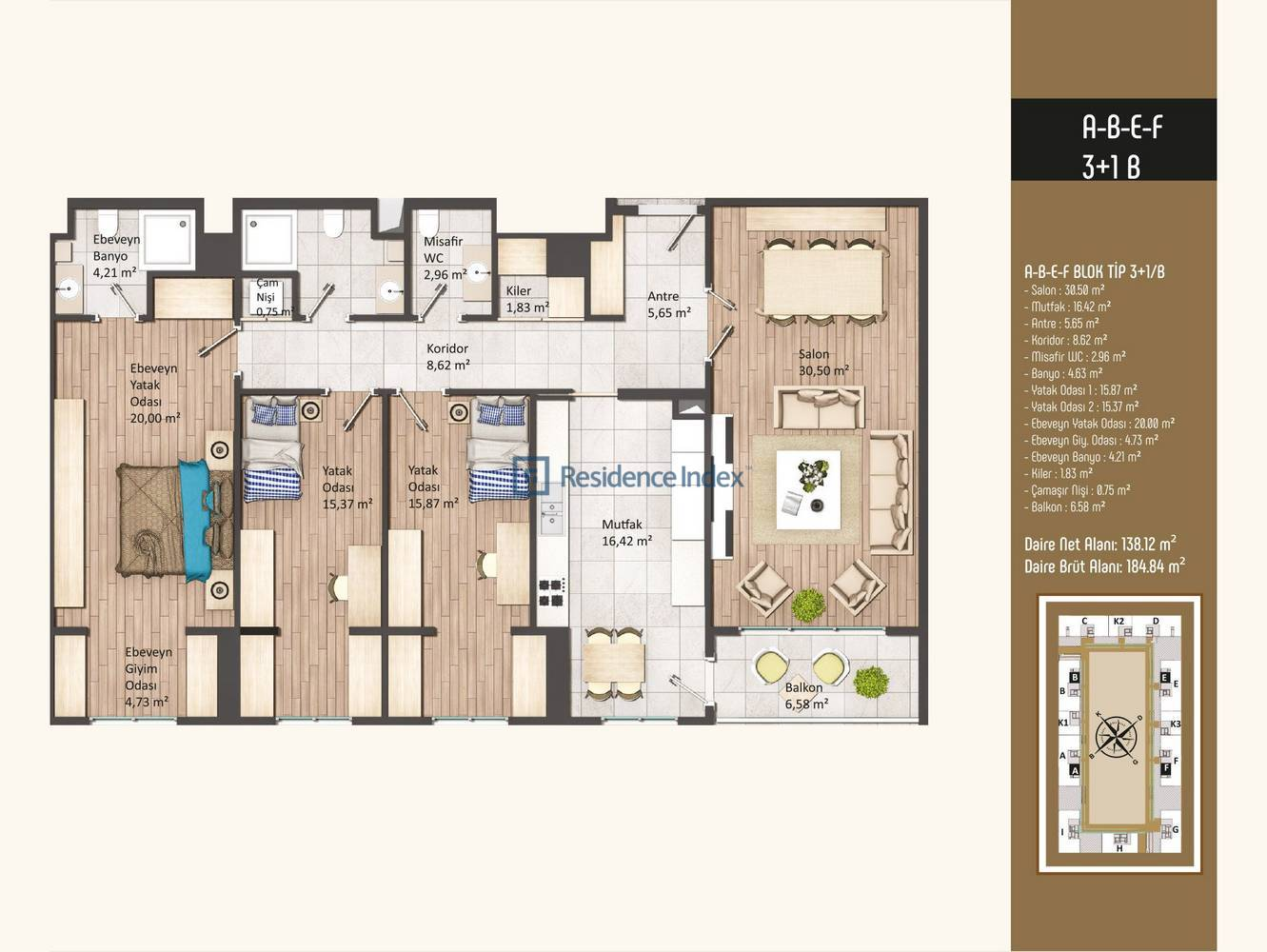 Kameroğlu Metrohome Residence 3+1 B