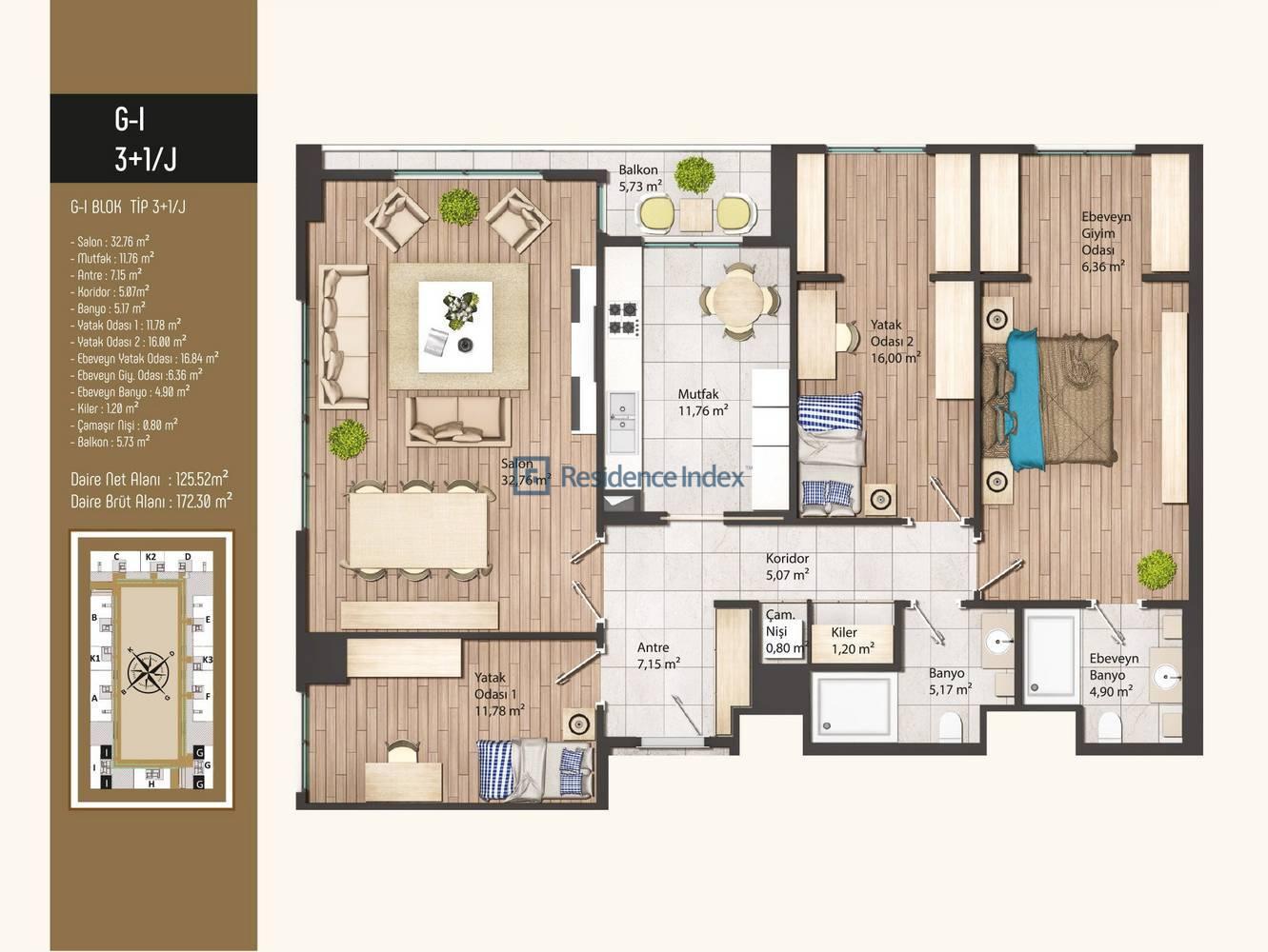 Kameroğlu Metrohome Residence 3+1 J