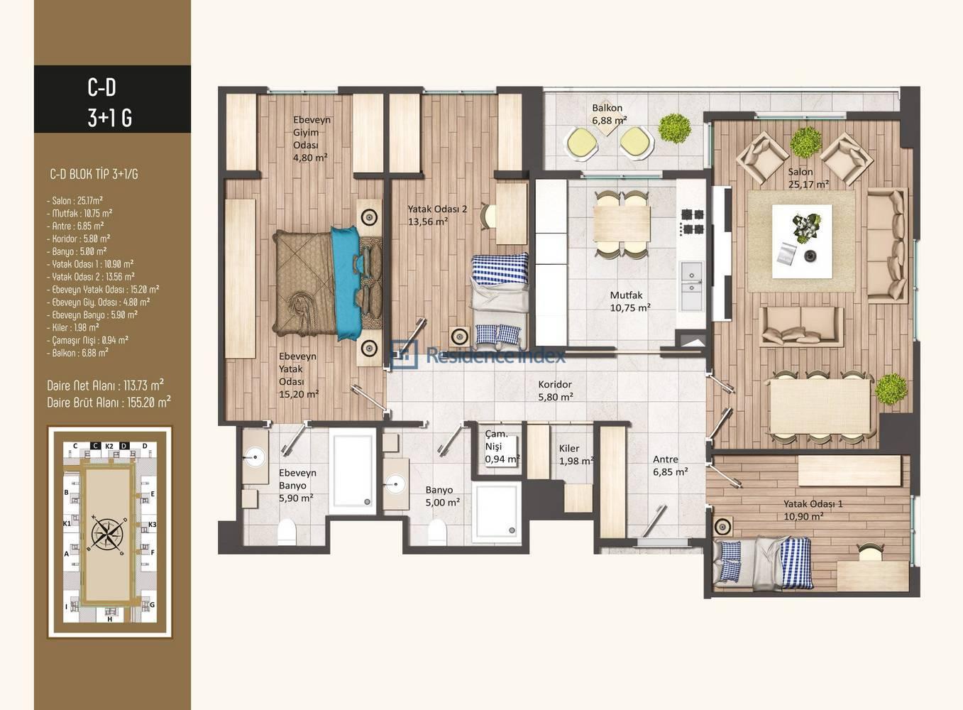 Kameroğlu Metrohome Residence 3+1 G