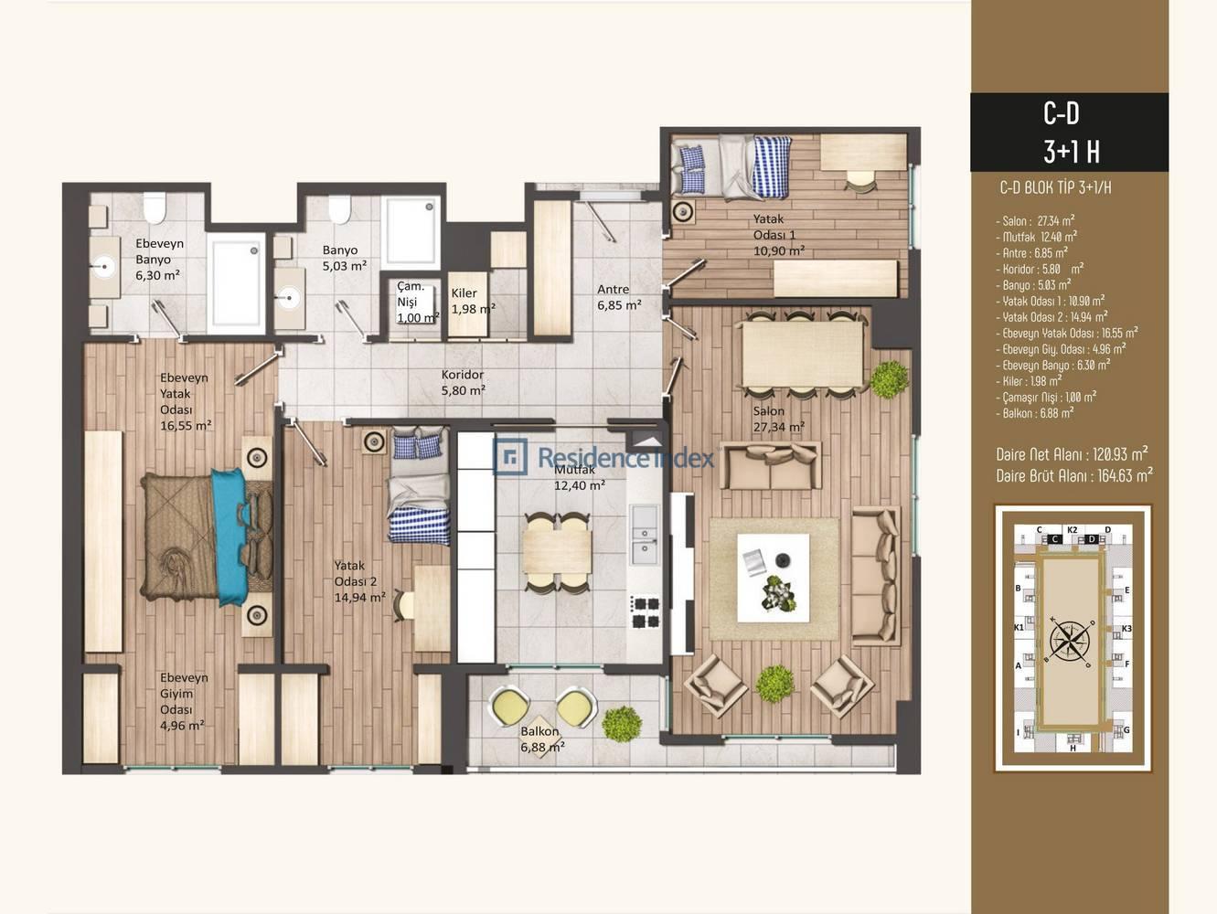 Kameroğlu Metrohome Residence 3+1 H