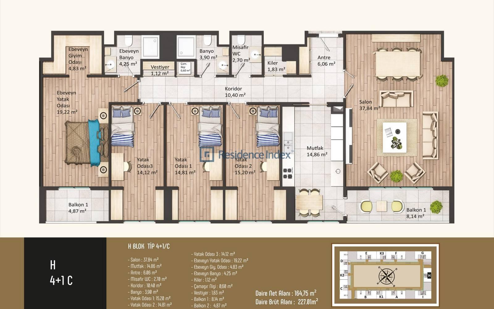 Kameroğlu Metrohome Residence 4+1 C