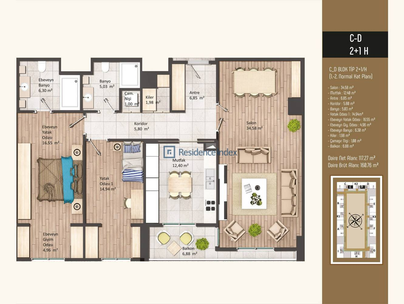Kameroğlu Metrohome Residence 2+1 H