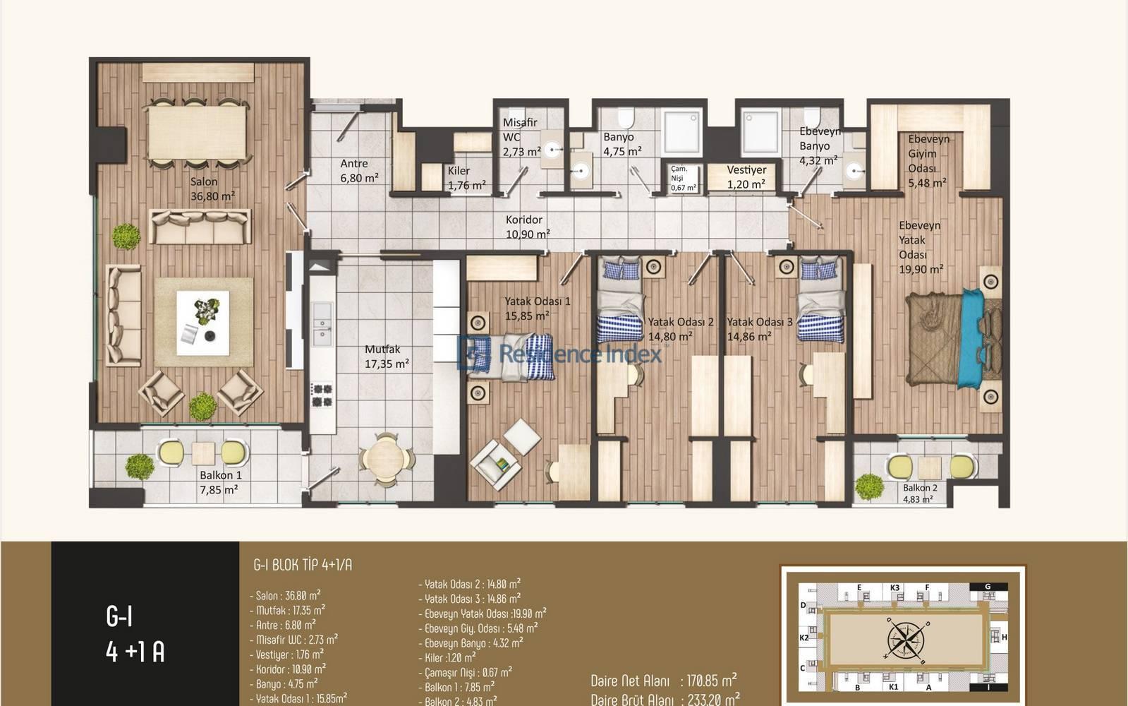Kameroğlu Metrohome Residence 4+1 A