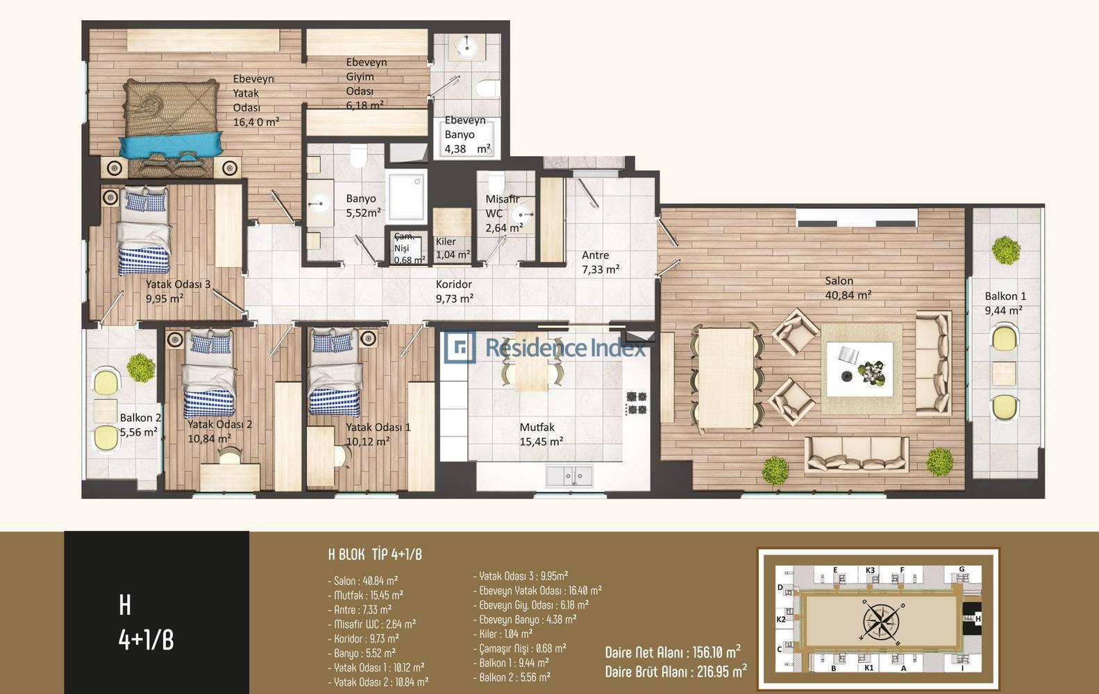 Kameroğlu Metrohome Residence 4+1 B