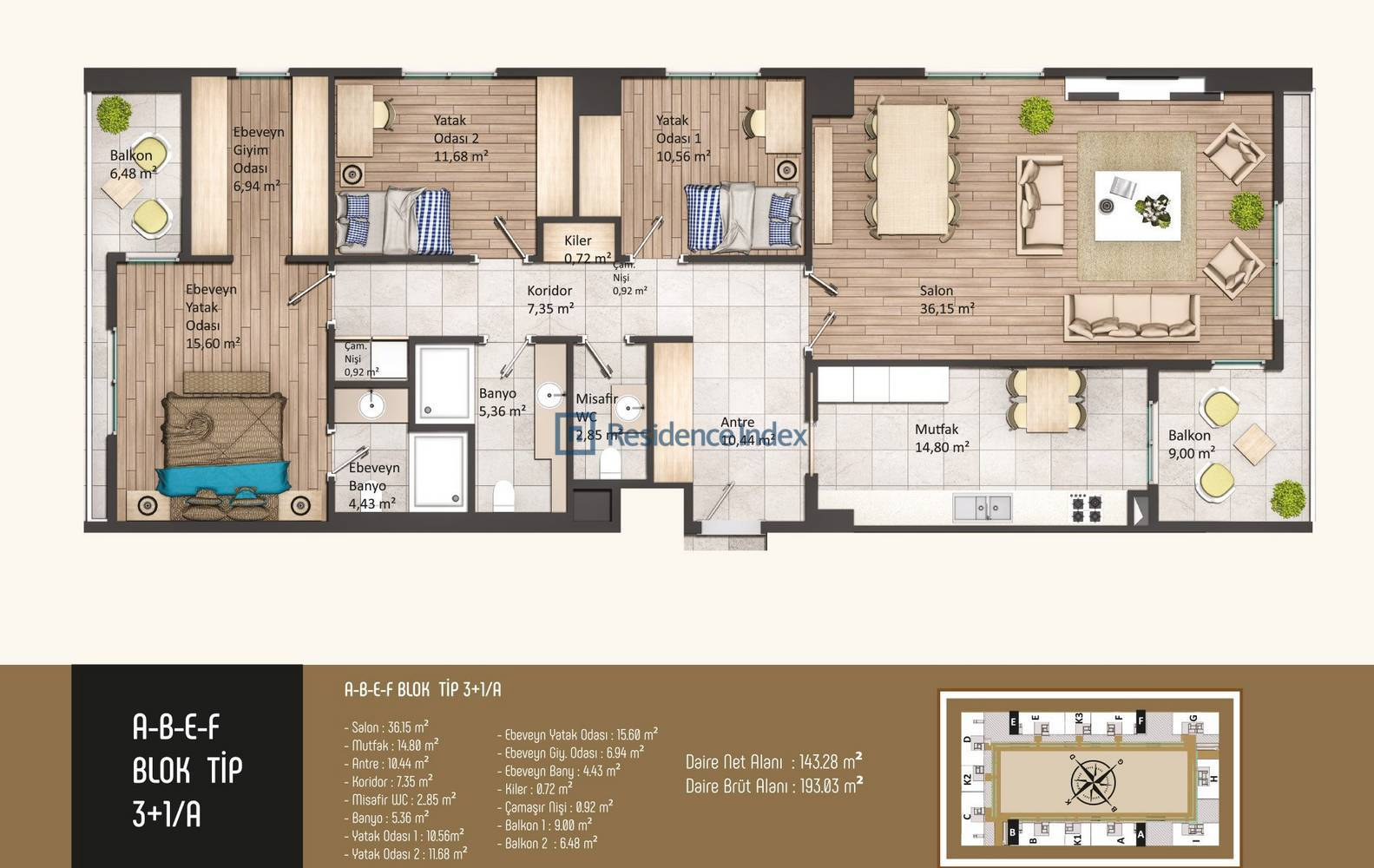 Kameroğlu Metrohome Residence 3+1 A