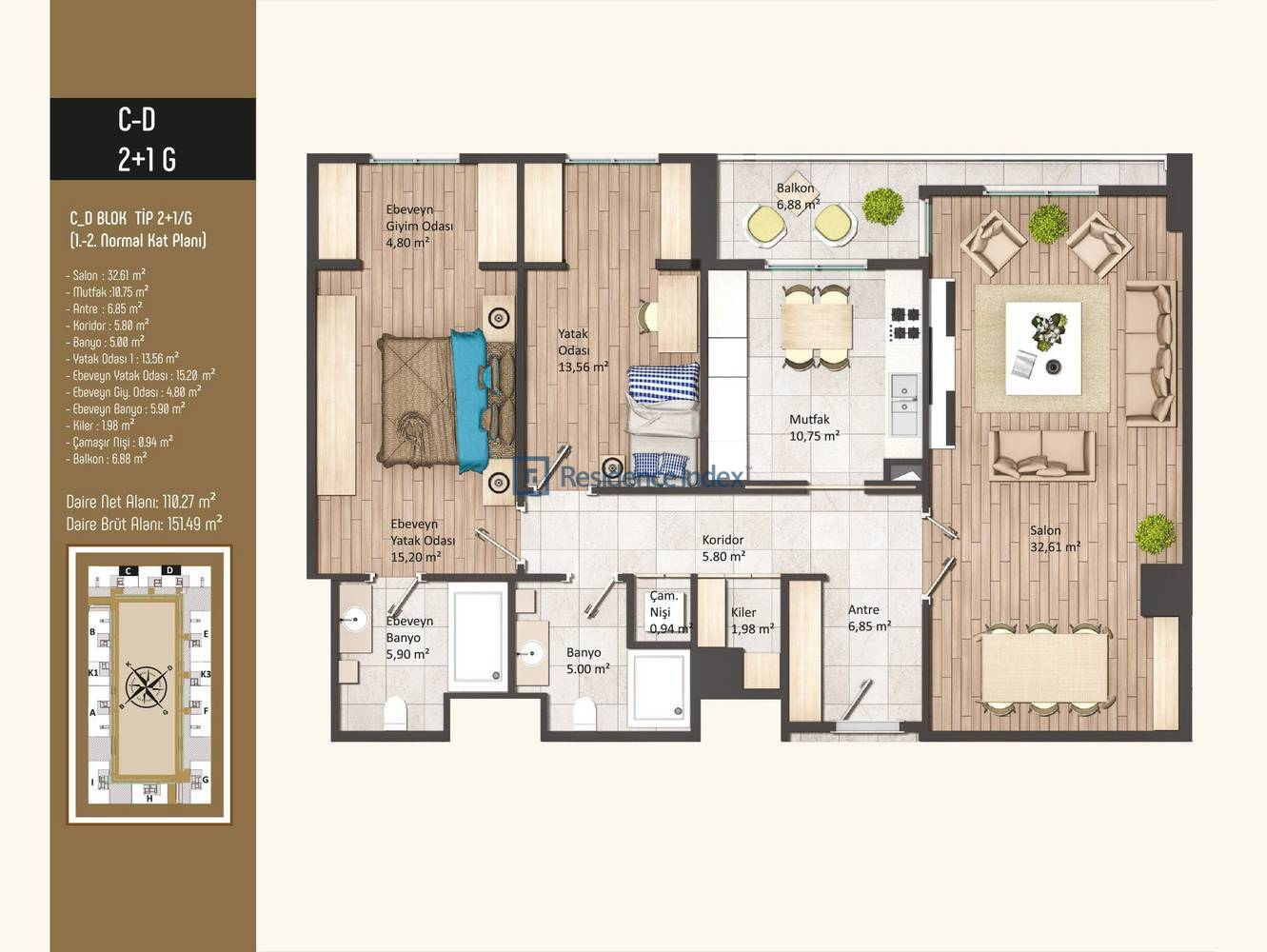 Kameroğlu Metrohome Residence 2+1 G