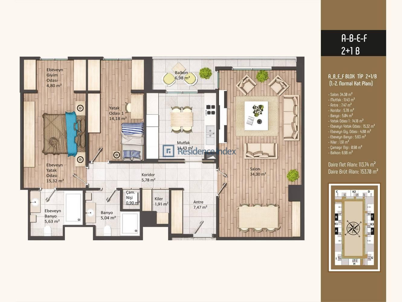Kameroğlu Metrohome Residence 2+1 B
