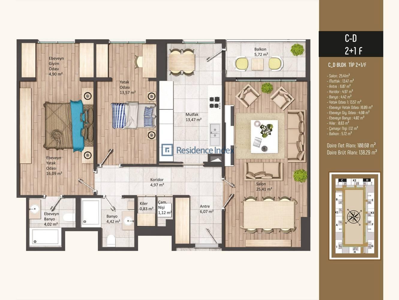 Kameroğlu Metrohome Residence 2+1 F