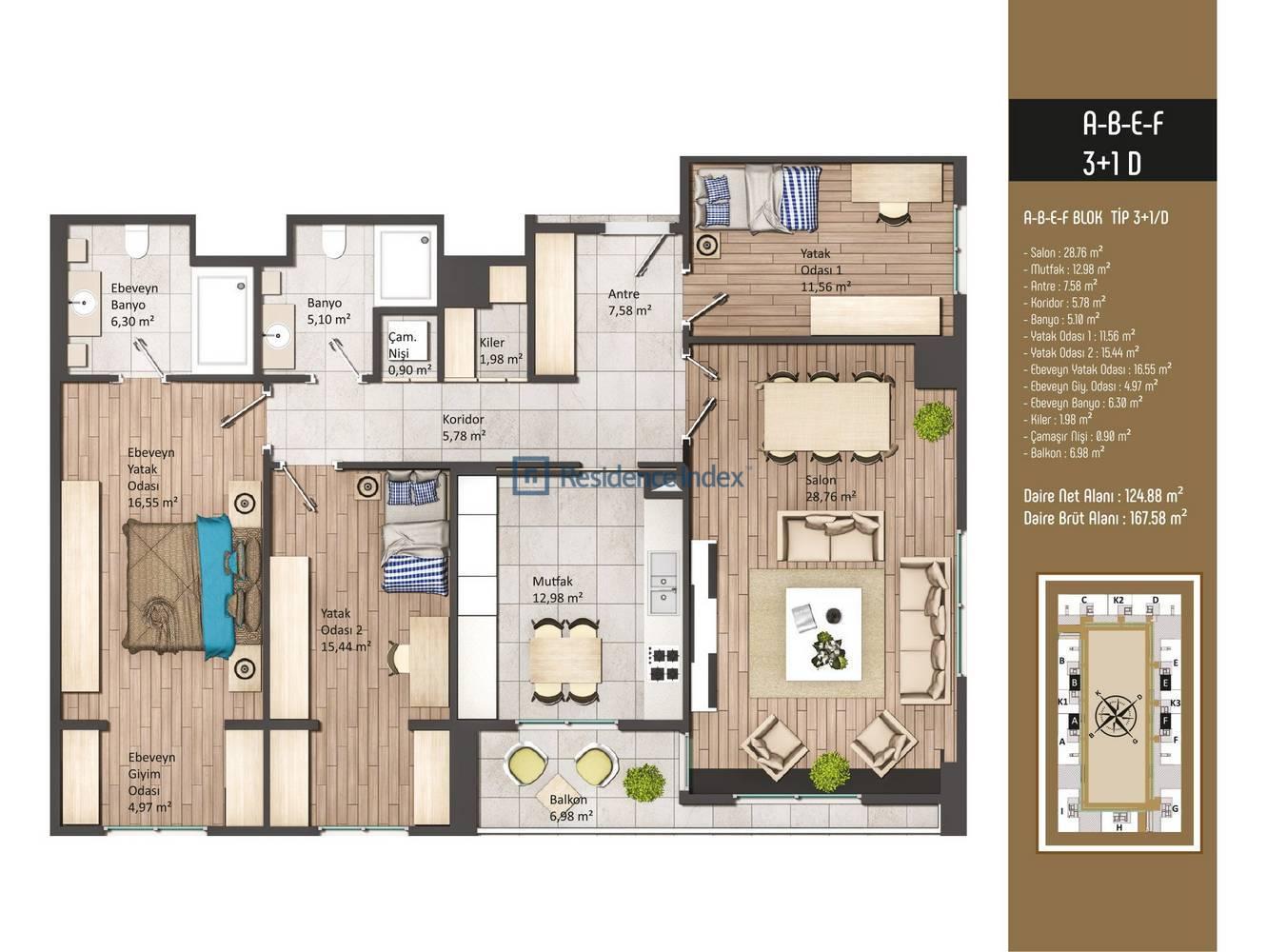 Kameroğlu Metrohome Residence 3+1 D