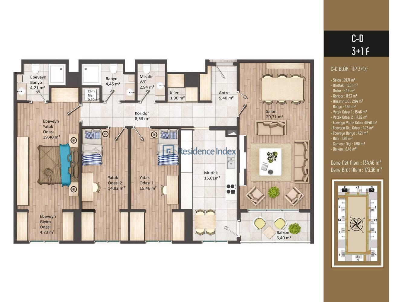 Kameroğlu Metrohome Residence 3+1 F