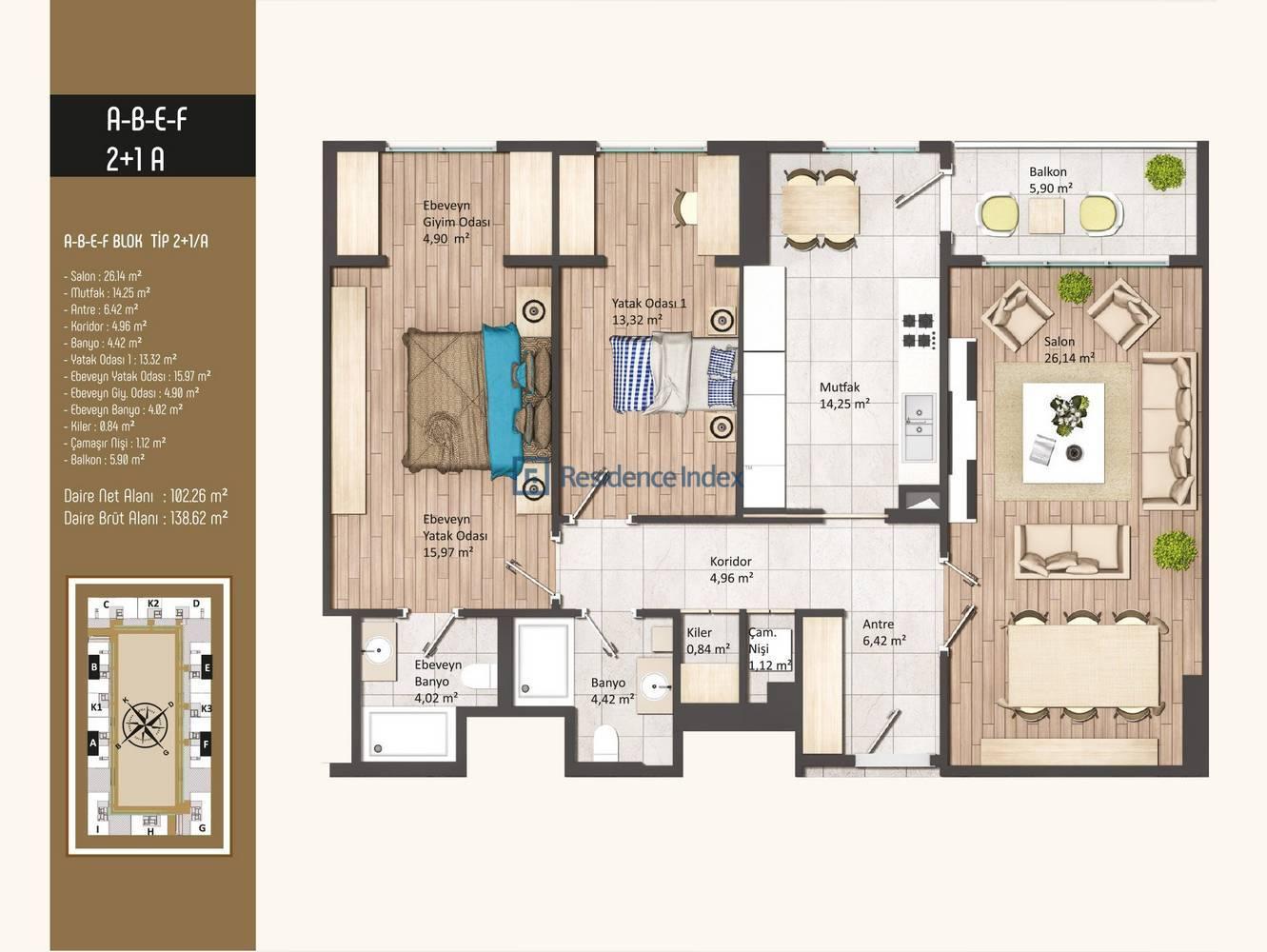 Kameroğlu Metrohome Residence 2+1 A