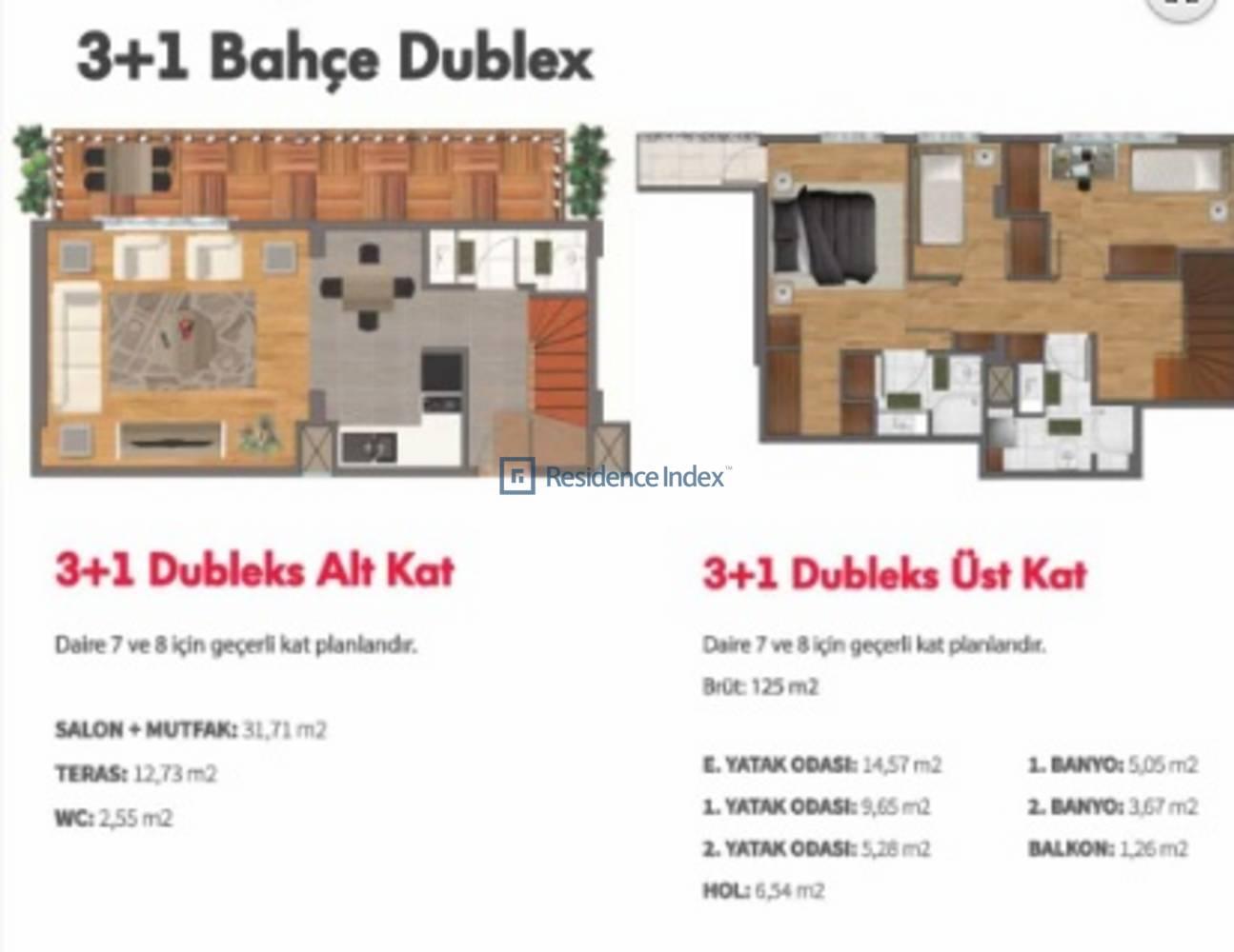 Double Flats  3+1 Bahçe Dubleks