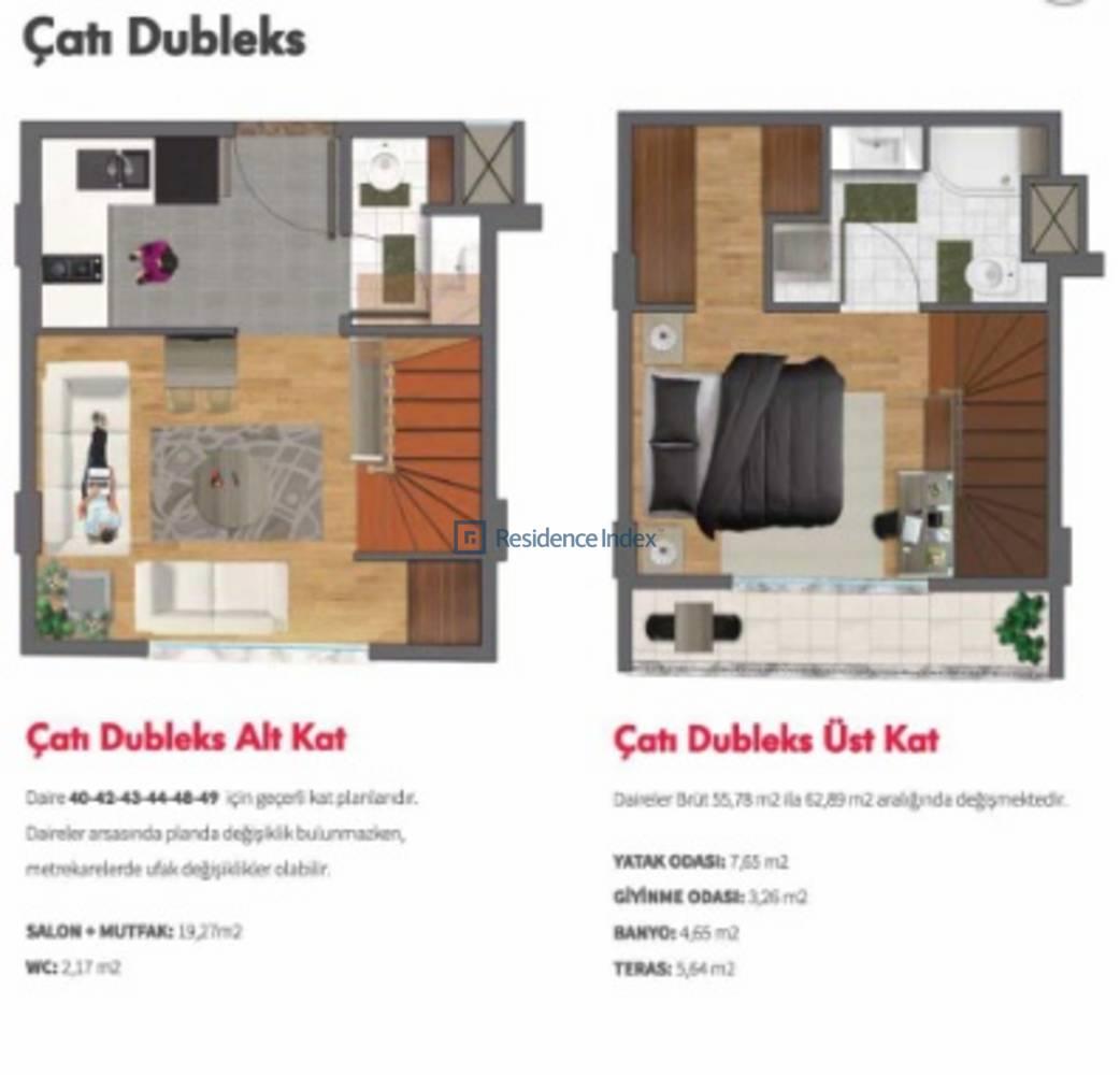 Double Flats  1+1 Çatı Dubleks