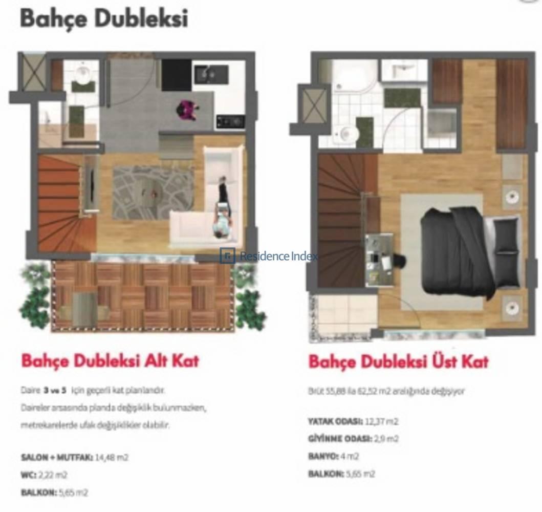 Double Flats  1+1 Bahçe Dubleks