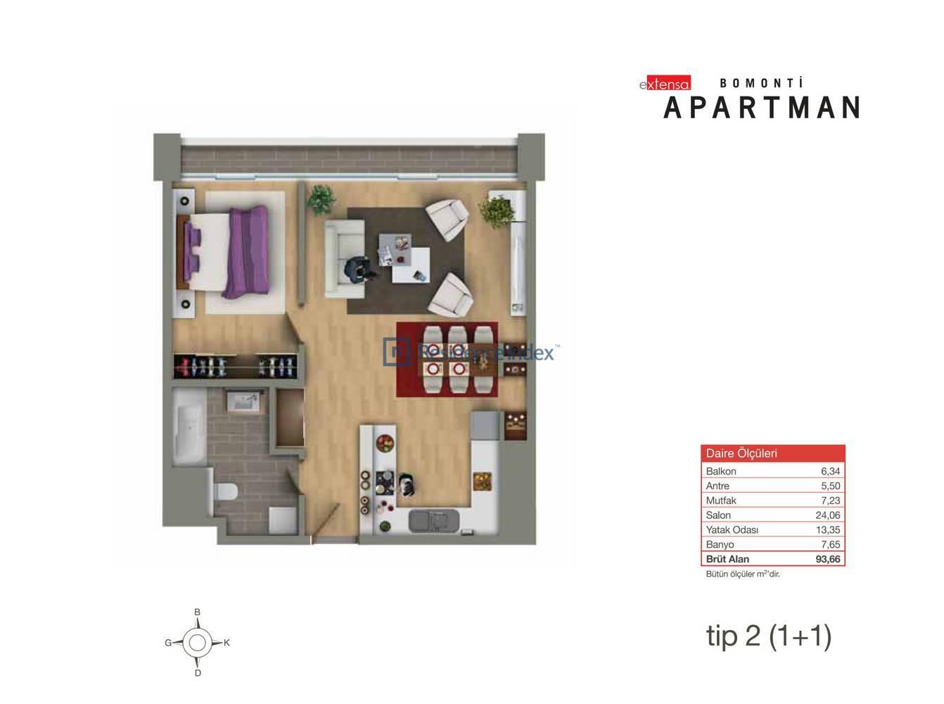 Bomonti Apartmanı Tip 2