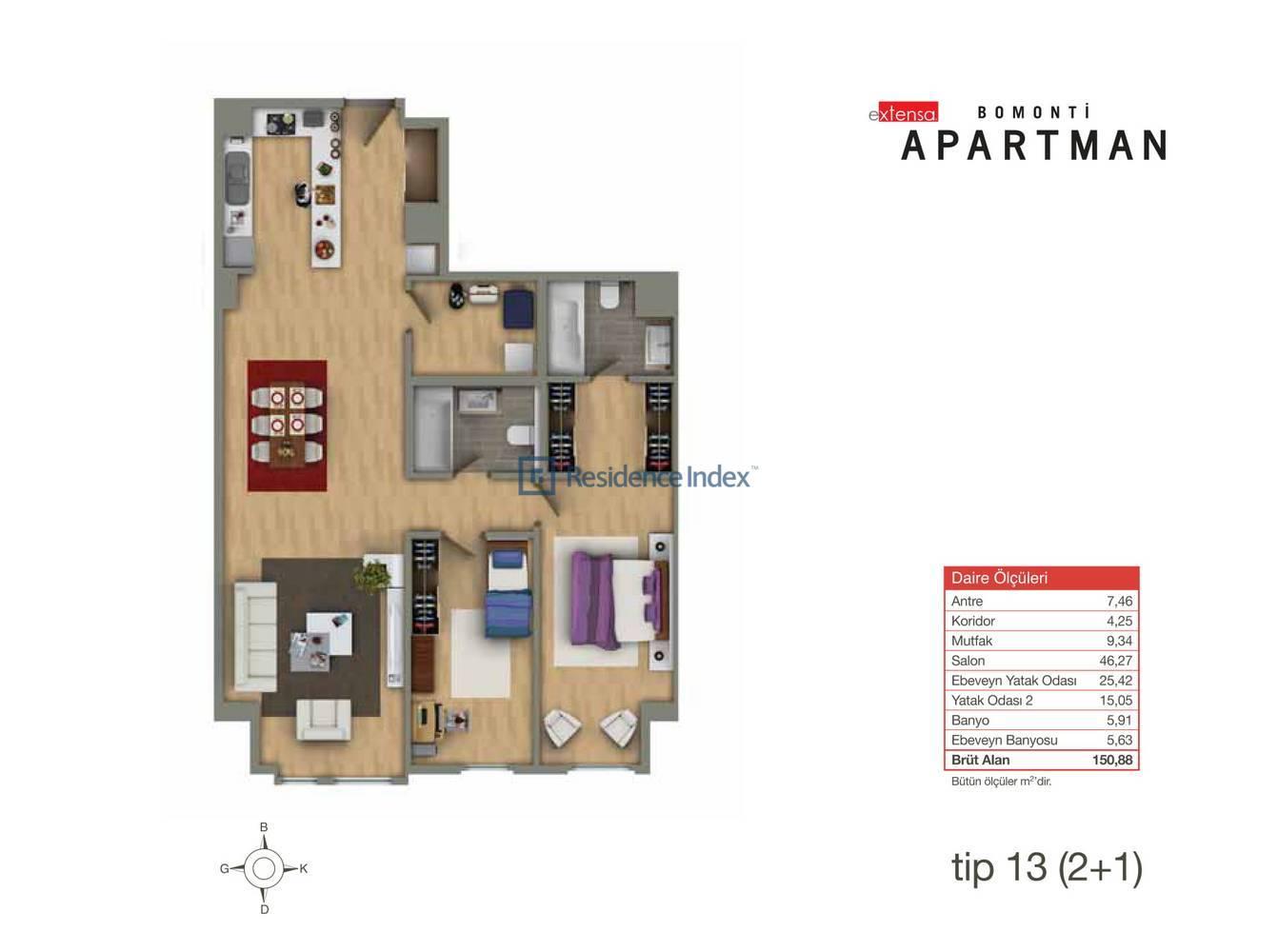 Bomonti Apartmanı Tip 13