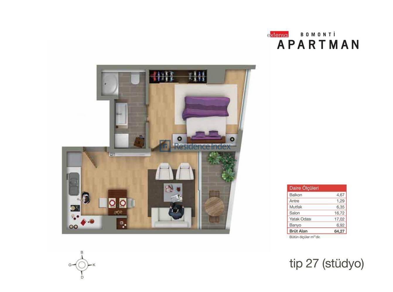 Bomonti Apartmanı Tip 27