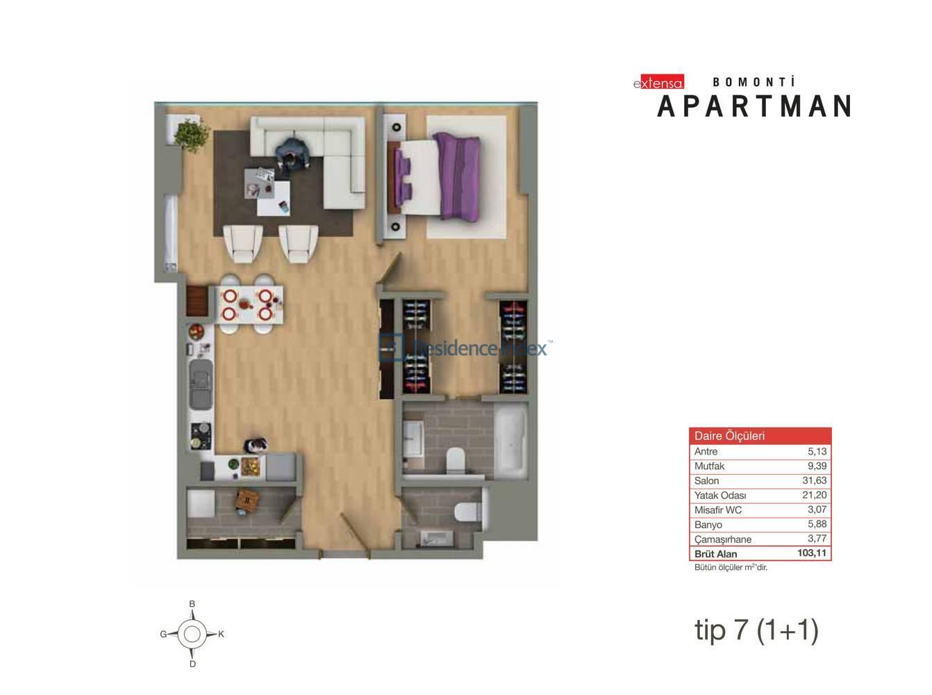 Bomonti Apartmanı Tip 7