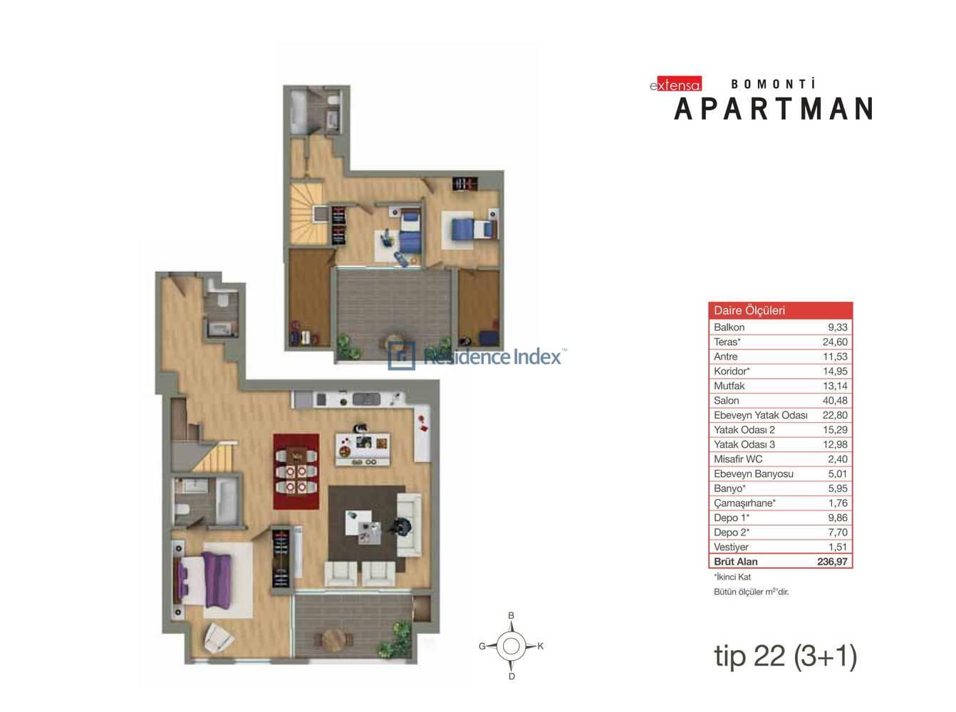 Bomonti Apartmanı Tip 22