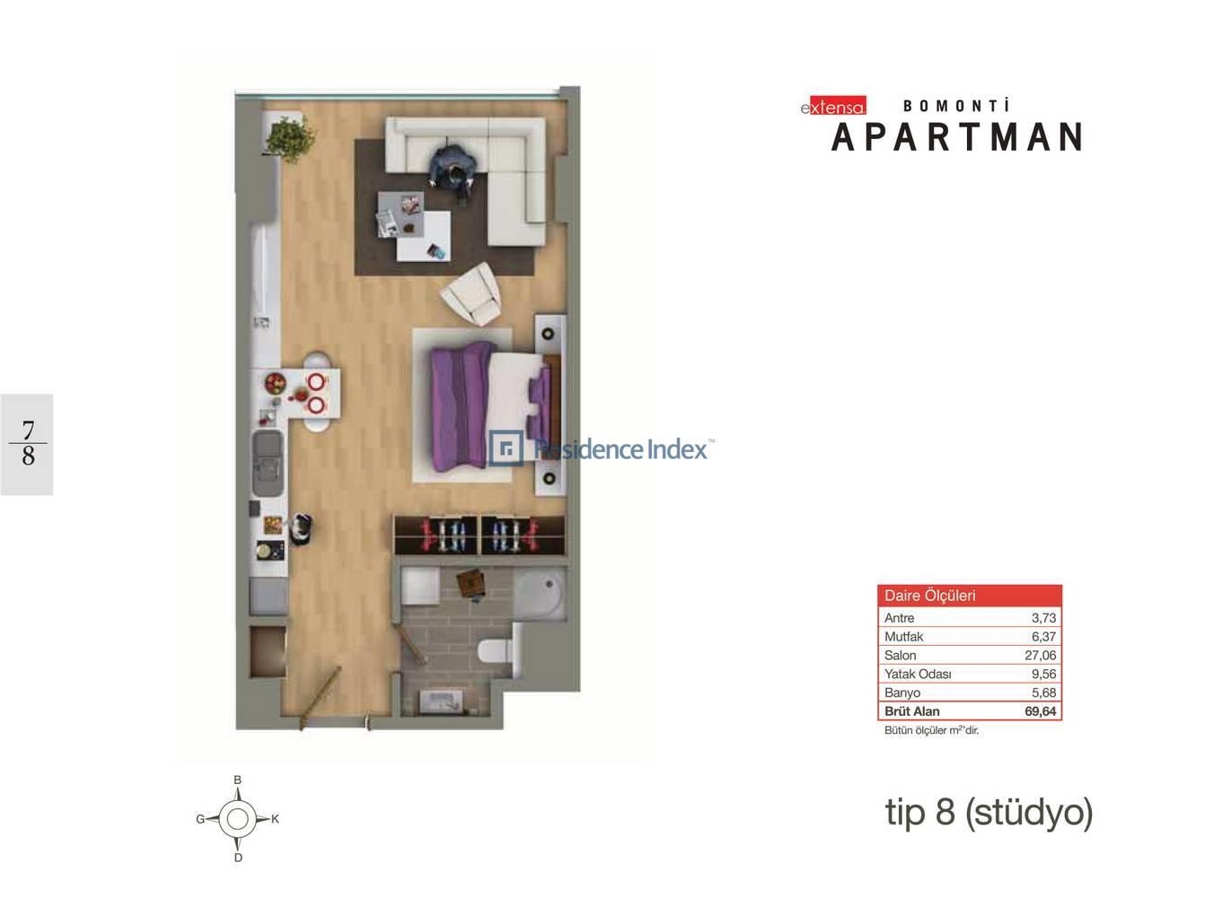 Bomonti Apartmanı Tip 8