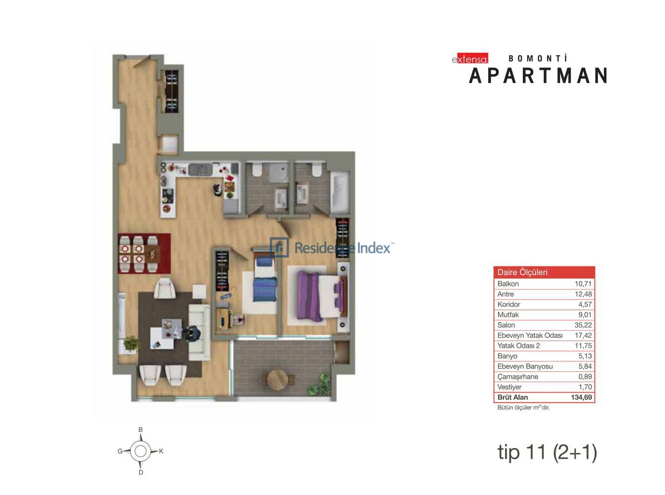Bomonti Apartmanı Tip 11