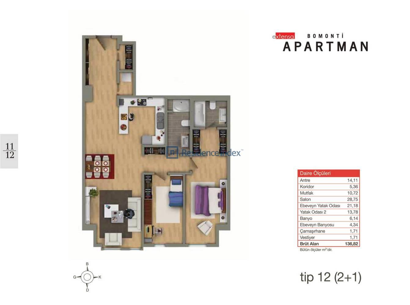 Bomonti Apartmanı Tip 12