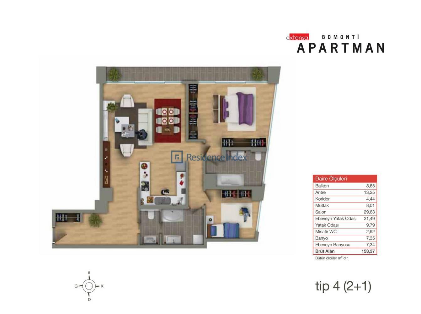 Bomonti Apartmanı Tip 4