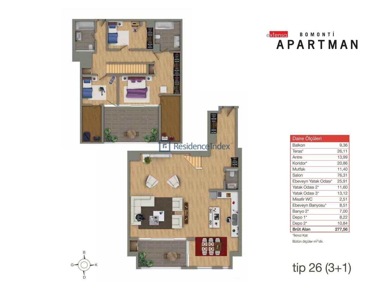 Bomonti Apartmanı Tip 26