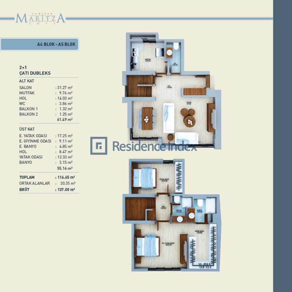 Maritza Loft  A4-A5 Çatı Dubelksi